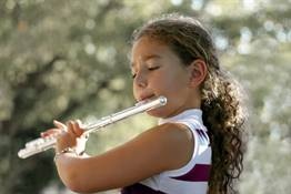 Girl playing a flute